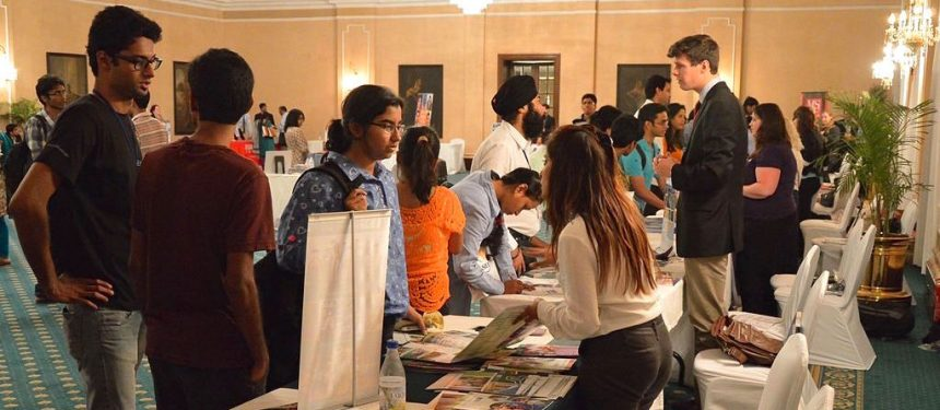 Indian international students at Education USA study fair, Kolkata, India