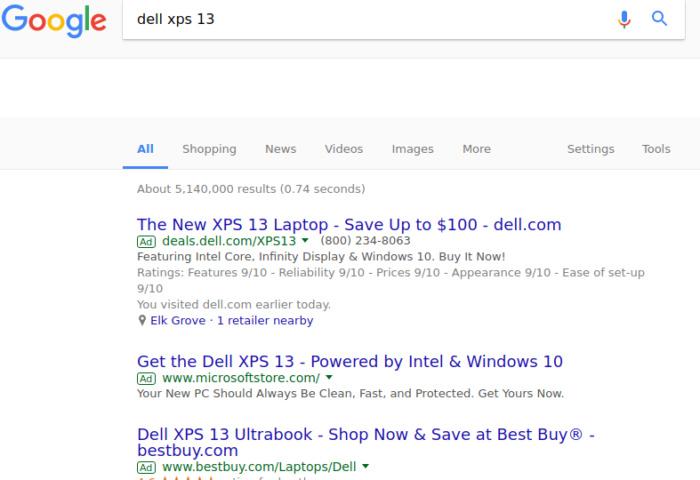 google screenshot xps13