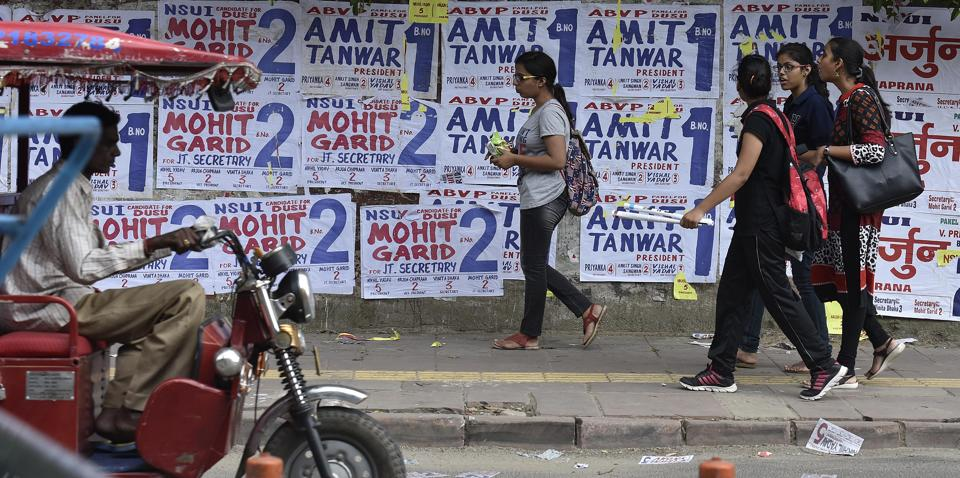 Posters put up last year for Delhi University's student polls. The election for DUSU will be held on September 12 this year.