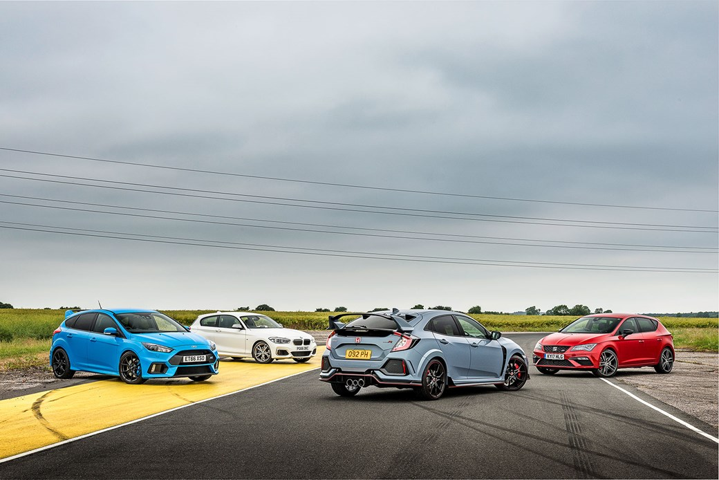 Honda Civic Type R vs Ford Focus RS vs Seat Leon Cupra 300 vs BMW M140i: which hot hatch would you choose?