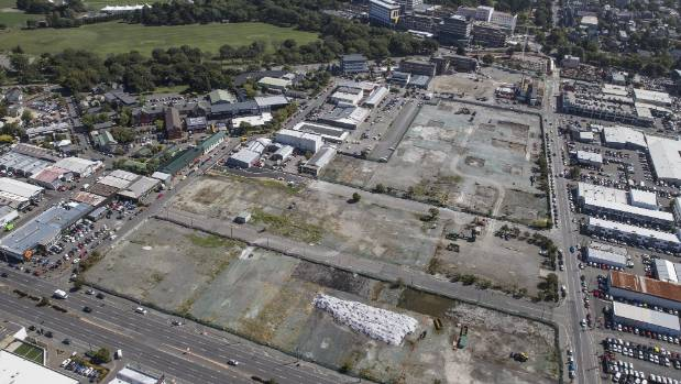The site of the metro sports facility, bordered by St Asaph and Antigua streets and Moorhouse Ave, in central Christchurch.