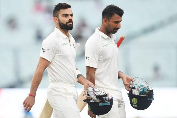 India captain Virat Kohli and batsman Cheteshwar Pujara held their second and sixth positions respectively on the ICC Test batsmen's rankings. Photo: AFP