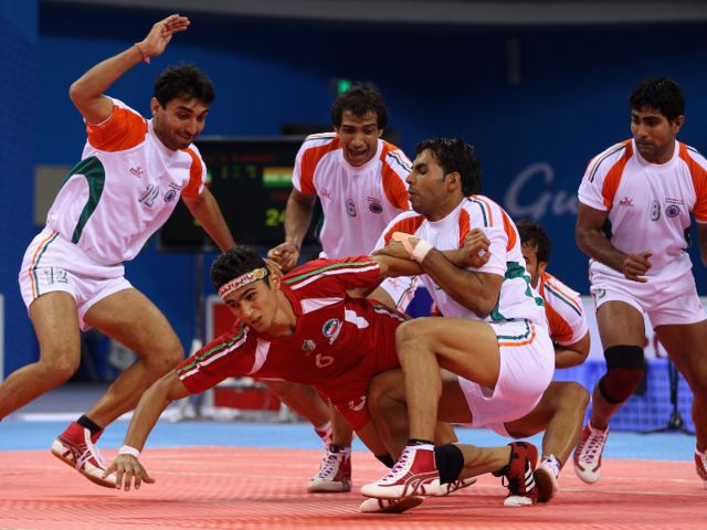 Kabaddi is like high-stakes red rover — you don't want to get caught on the other side of the court.