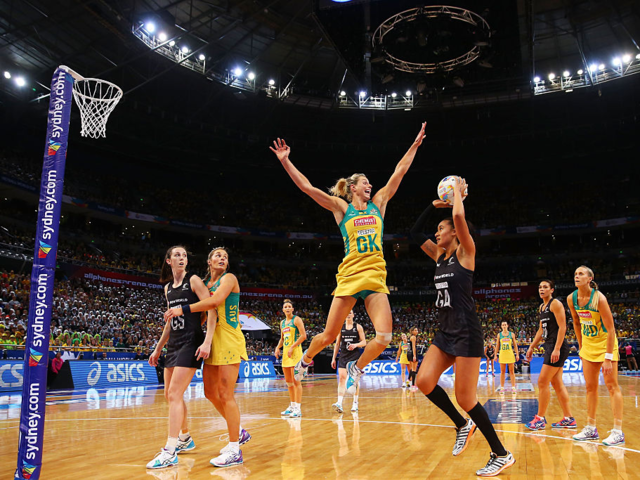 Netball is like basketball without backboards or dribbling.