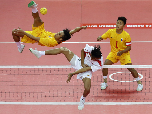 Sepak takraw is a high-flying sport combining volleyball and soccer.