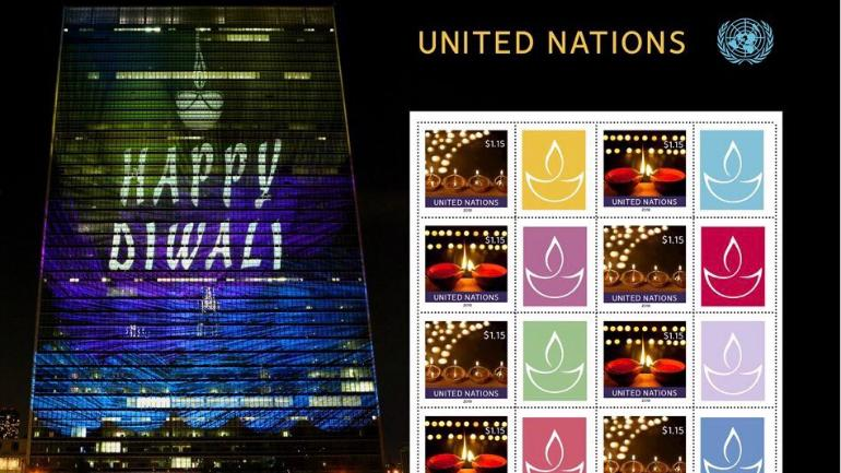 Diwali special stamps issued by the UN. Photo: Twitter/UnitedNationsHindi