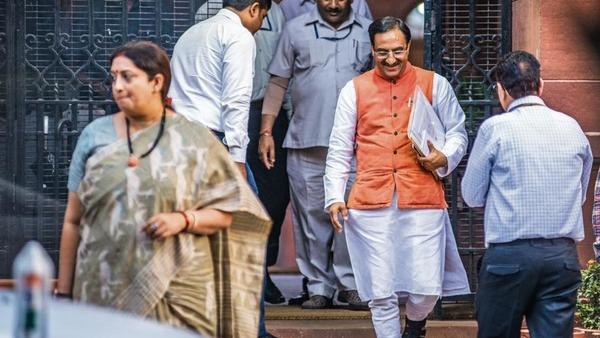 Human resource development minister Ramesh Pokhriyal Nishank. (Pradeep Gaur/Mint)